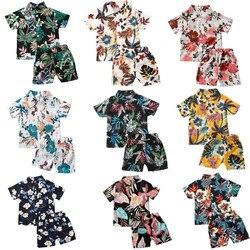Летнее платье для младенцев, для маленьких мальчиков Комплекты одежды 10 Цвета Гавайи листья Цветочный Принт футболки с коротким рукавом, то...