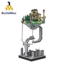 BuildMOC-Esculturas de Castillo suspendidas por gravedad, bloques de construcción, física dinámica, equilibrio, juguetes para niños