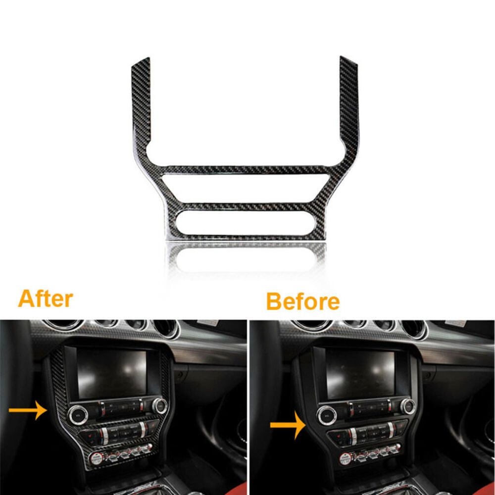 1pc Car Carbon Fiber Interior CD Panel Decor Cover Trim For Ford <font><b>Mustang</b></font> <font><b>2015</b></font> <font><b>2019</b></font> Interior CD Panel Decor Cover Sticker image