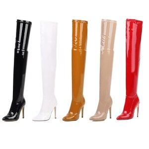 Image 2 - 2021 botas de salto alto sobre o joelho botas femininas estiramento coxa botas altas senhoras outono inverno botas longas cuissardes sexy mais siz