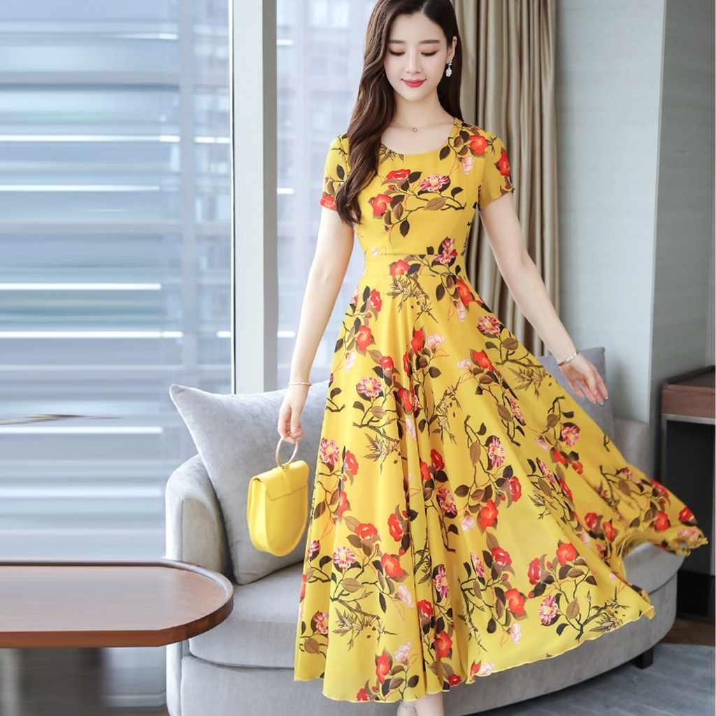 2019 verano Mujer vestido largo estampado Floral moda Grace cuello redondo manga corta playa estampado Mujer Maxi vestido elegante talla 3Xl