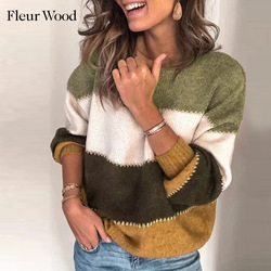 FLEUR WOOD Woman Sweaters Knitted Pullovers Autumn Winter O-Neck Sweater Women Striped Casual Women Clothes 2020 Ropa Mujer