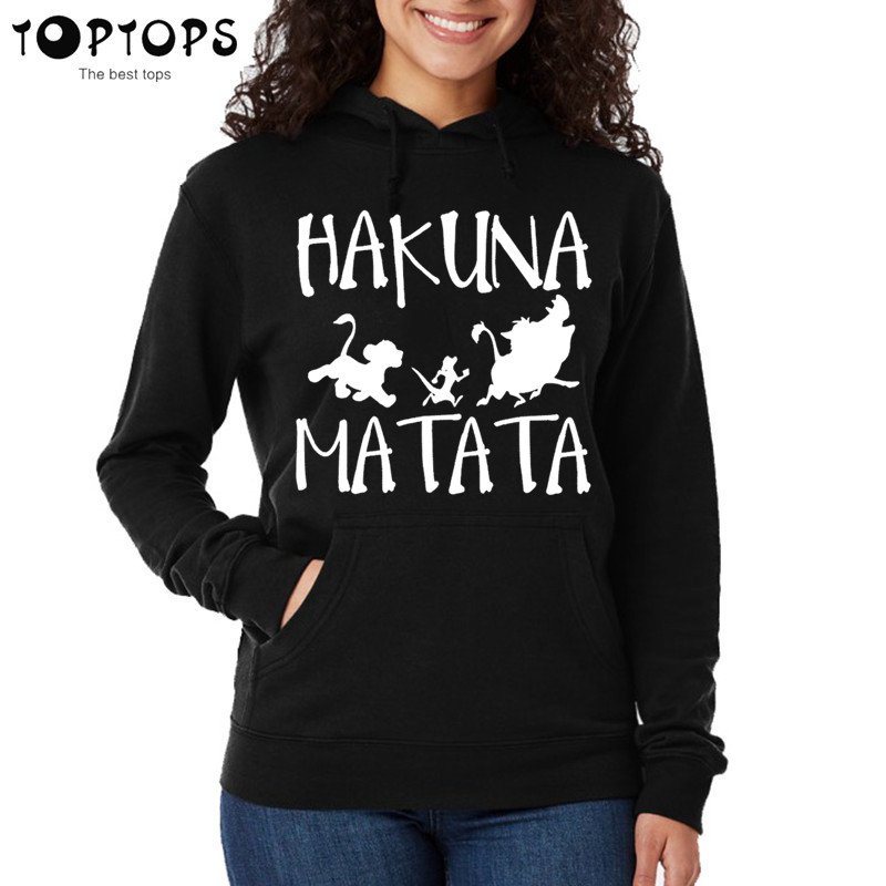 Women Hakuna Matata Brand Hoodie Autumn Hip Hop Sweatshirts Unisex Pink Hoodies Funny Coat Girls Female Harajuku Clothes