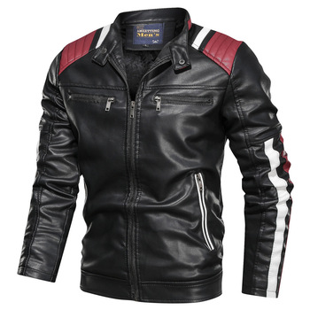 2019 Autumn Winter Men's Leather Jacket Casual Fashion Stand Collar Motorcycle Jacket Men Slim Style Quality Leather Jacket Men 1