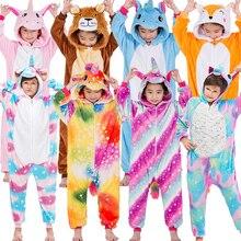Фланелевая Детская Пижама; комплект зимней одежды с капюшоном с изображением единорога, тигра, лисы; Детские пижамы для мальчиков и девочек; одежда для сна; комбинезоны
