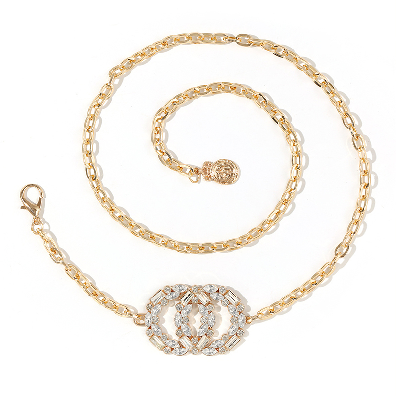 Women Fashion Water Diamond Metal Adjustable Waist Chain Belt Elegant Flash diamond 105cm Waist Chain Women Dress Belt  2021 New 6