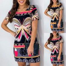 Vintage Butterfly Floral Print Mini Dress Women's Summer Casual Short Sleeve Graphic Round Neck Dress Ladies Sheath Dresses D30