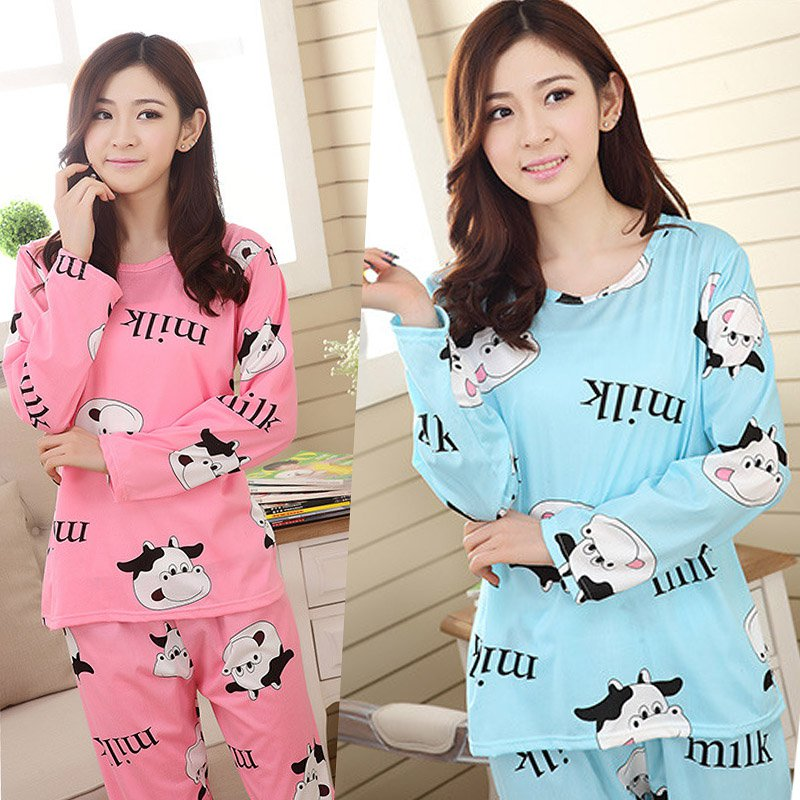 Autumn Women Cow Printed Pajamas Set Nightwear Lingerie Sets Casual Soft Long Sleeve Nightgown Sexy Sleepwear