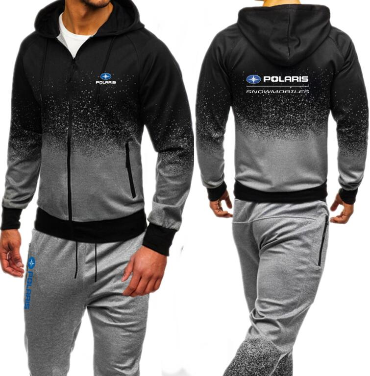 Polaris Snowmobiles Tribal Men Set Autumn Sweatshirt Mens Tracksuit Hooded Jacket Pants Sportswear Man Stand Collar Hoodie
