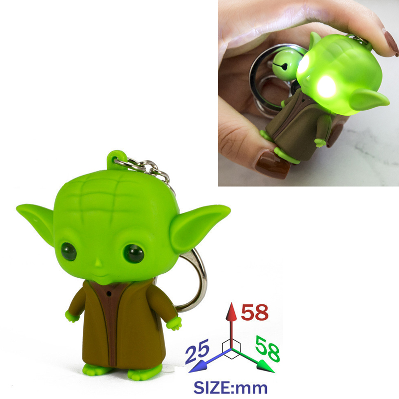Classic Star Wars Character Jedi Master Yoda LED Keychain Mini Starwar Figures Key Rings Sound-emitting Toys Classic Keychains