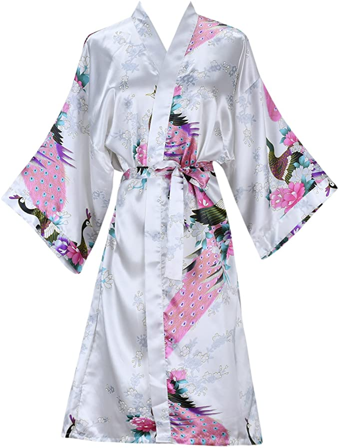 Silk Satin Hochzeit Braut Brautjungfer Robe Floral Bademantel Kurze Kimono Robe Nacht Robe Bad Robe Mode Dressing Kleid Für Frauen