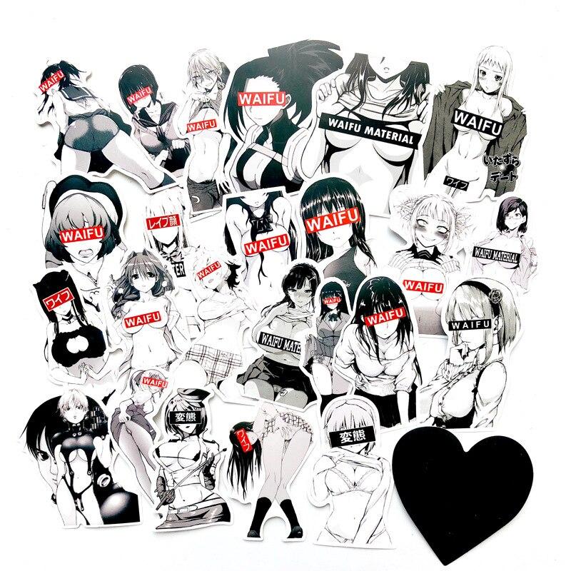 30PCS WaiFu Black Girl Sexy Bunny Girl Stickers Suitcase Laptop Car Anime Waterproof Sticker