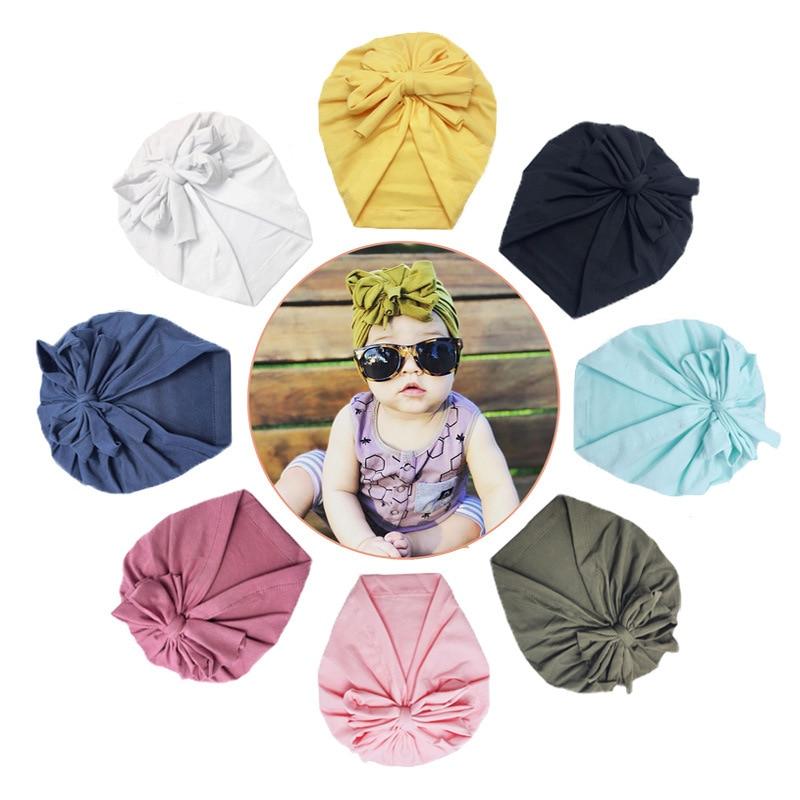 Infant Headbands Solid Cotton Kont Turban Headband For Girls Stretchy Beanie Hat Headwear Baby Hairband Faixa Cabelo Para Bebe