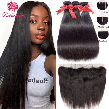 AliExpress - 5SALE:  Brazilian Human Hair Bundles With Lace Frontal Straight Bundles and 13×4 Lace Frontal Human Hair Weaves For Black Women Beauhair