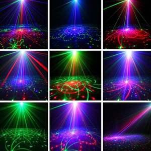 Image 3 - 120 أنماط الصوت المنشط جهاز عرض ليزر ضوء كشاف مصابيح LED للديسكو والدي جي الموسيقى 9 واط مصابيح يندمج بها اللون الأحمر والأخضر والأزرق مصباح لعيد الميلاد KTV المنزل