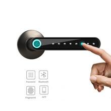 Zdalny zamek elektroniczny zamek do drzwi z czytnikiem linii papilarnych inteligentny uchwyt hasła Bluetooth blokada APP odblokuj dostęp bezkluczykowy praca z iOS/Android