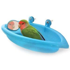 Banheira de pássaros com espelho de pássaros, acessórios para banheira, gaiola para animais de estimação, banheira, chuveiro, caixa de estar