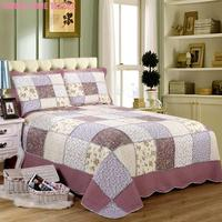 3Pcs Queen Size Girls Bedding Comforter Quilt Sets Romantic Purple Floral Chic Patchwork Cotton Quilted Bedspread Pillow shams
