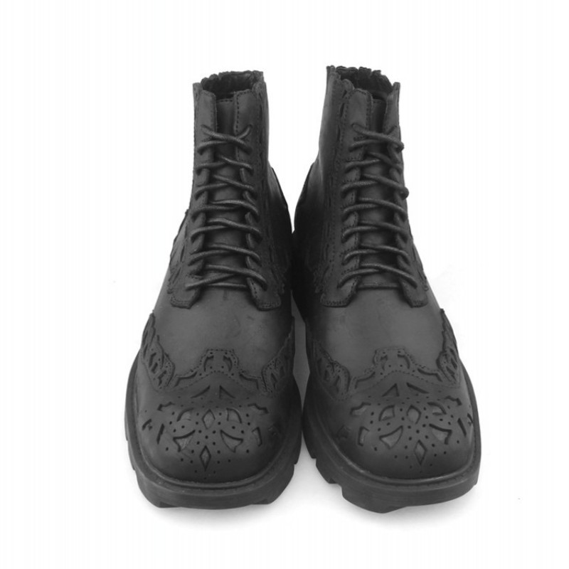British Style Boots Men Luxury Cow Leather Lace-Up Bullock Ankle Shoes Fashion 2020 Winter Punk Motorcycle Platform Black Boots