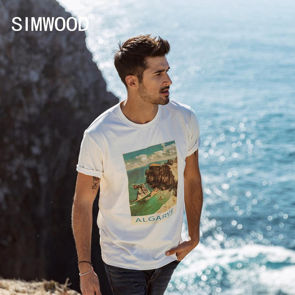 SIMWOOD 2020 Summer New Holiday Style T-shirt Men Fashion 100% Cotton Scenery Print T Shirt Matching Couples T-shirts SJ120087