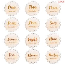 12 Pcs/set Nordic Style Baby Birth Month Number Birthday Commemorative Newborn Full Moon Photography Props Milestone Card