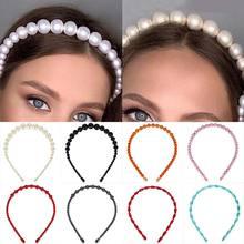 Sale Beautiful Big Pearls Crystal Elegant Candy Color Women Wedding Hair Hoop Bezel for Girls Headband