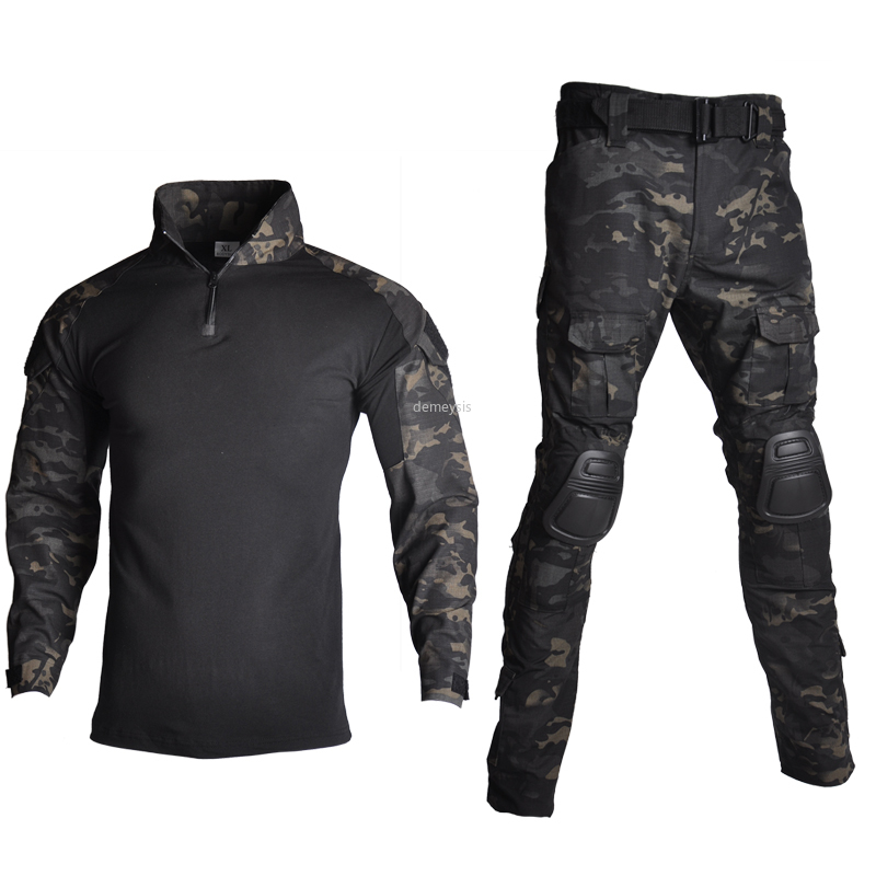 Outdoor Airsoft Paintball Clothing Military Shooting Uniform Tactical Combat Camouflage Shirts Cargo Pants Elbow Knee Pads Suits