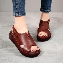 AIYUQI Summer Sandals Women 2020 New Genuine Leather Ladies Platform Women's Shoes Casual Retro