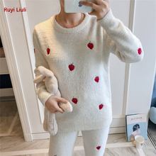 Pajamas autumn/winter girl strawberry embroidery chi wind soft wool warm thick style home wear set