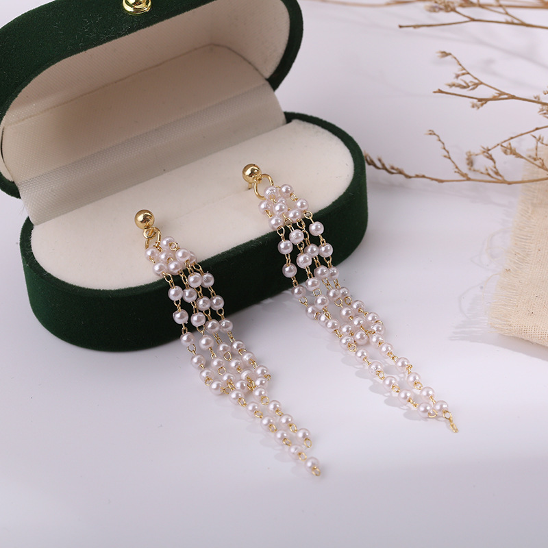 New products in 2020, exquisite and fashionable, long pearl tassel earrings, ladies sweet pendant earrings wholesale and retail