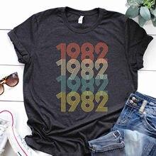 Femmes décontracté cadeau d'anniversaire t-shirt 1982 pièces d'origine Vintage t-shirts manches courtes nœud papillon tunique Harajuku Mujer Camisetas