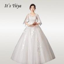 It's YiiYa Wedding Dresses 2020 Crystal Short Sleeve Wedding Dress Plus Size For Women Elegant Lace Long Vestido De Novia HS342