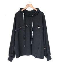 Tide размера плюс черный свитер Лоскутная личность Кнопка украшения толстовки рукав летучая мышь подходит для всех осень