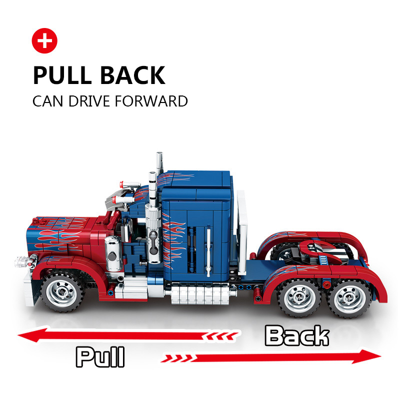 Yeshin 701803 The Peterbilt Heavy Container Car Pull Back Car