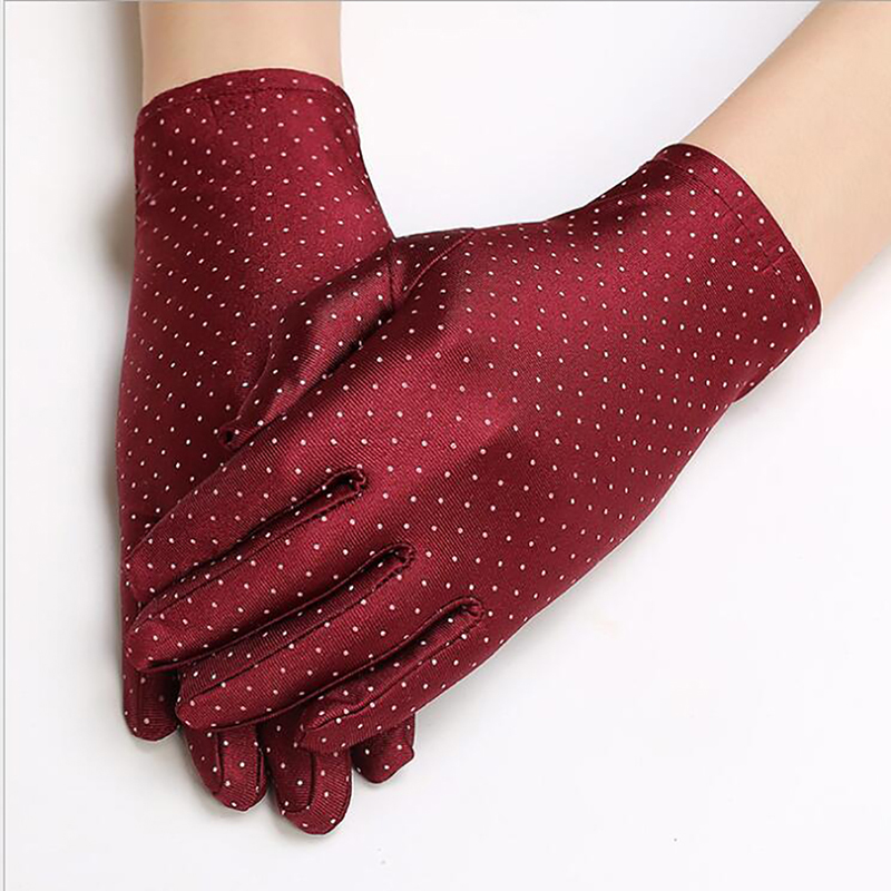 Polka Dots Gloves For Women Summer Spring Spandex Gloves Sunscreen Etiquette Fashion Short Glove High Elastic Thin Gloves