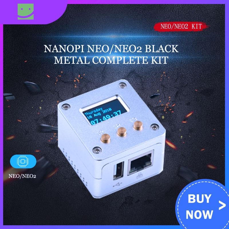 FriendlyARM NanoPi NEO/NEO2 Black Metal Complete Kit Aluminum Housing Oled Programmable In Python