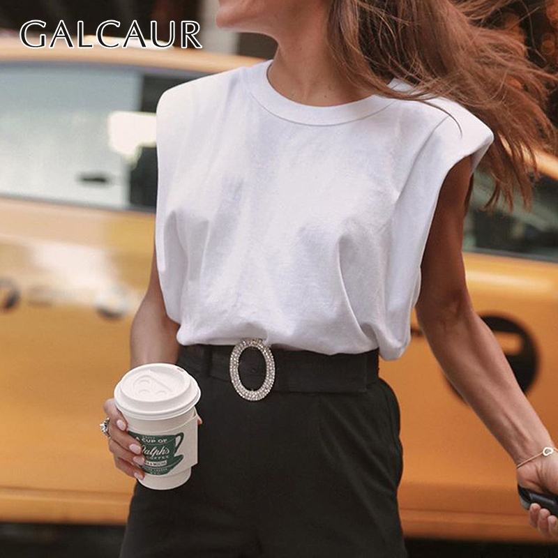 GALCAUR Casual Women's Tank Top O Neck Sleeveless Loose Ruched Streetwear Vest For Female Fashion Clothing 2020 Spring Tide