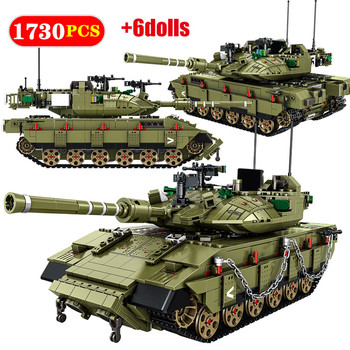 1730 Pcs City Main Battle WW2 Tank Model Building Blocks Military Army Soldier Figures Education Bricks gifts Toys For Children