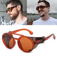 LongKeeper PU Leather Retro Rivet Round Punk Sunglasses Men Vintage Steampunk Shades Women Oculos UV400
