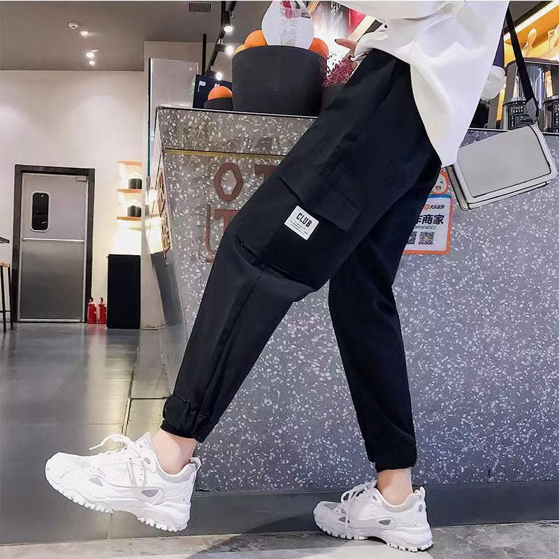Women Casual Cargo Pants Spring 2020 Summer Female High Waist Loose Black Harem Pant Khaki Loose Straight Trousers Streetwear