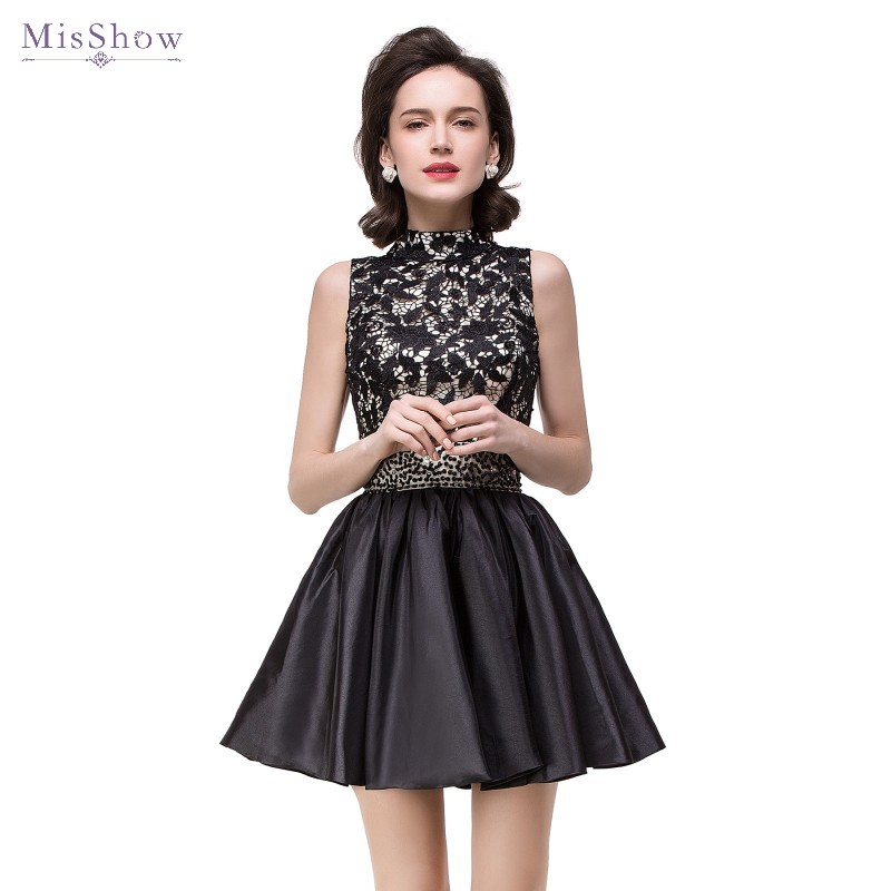 Robe de soirée noire 2019 une ligne courte robes de soirée formelles dentelle appliques robes de soirée à encolure dégagée sans manches robe de soirée