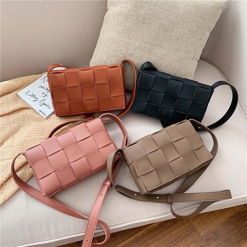 High Quality Women's Handbag Knitting Designer Crossbody Bag Fashion Women's Shoulder Messenger Bags Woven Plaid Female Purse
