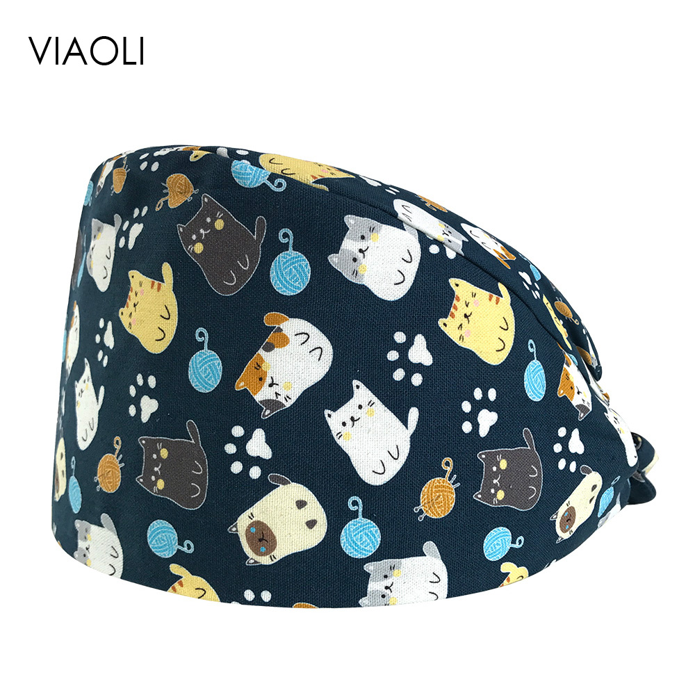 VIAOLI Print Black Tieback Elastic Section 100% Cotton Surgical Caps Scrub Caps for men Women Hospital Medical Hats Arrival 030