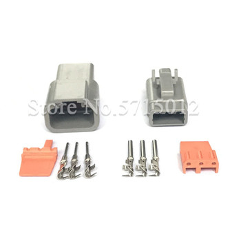 3 Hole Deutsch DTM DTM06-3S/ATM06-3S DTM04-3P/ATM04-3P Wire Connector Gray Waterproof Female Male Auto Socket image