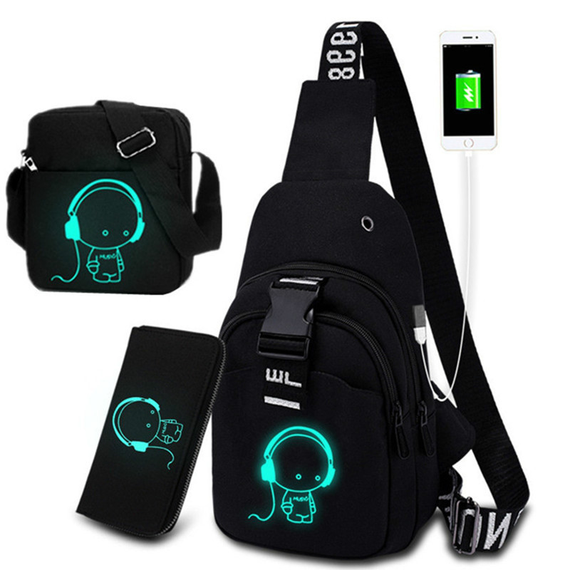 Multifunction Fashion Men Crossbody Bags USB Charging Chest Pack Short Trip Luminous Chest Bag Young Men 's Shoulder Bag Single
