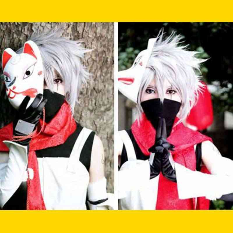 Anime Naruto Cosplay Hatake Kakashi Cosplay Kostum Pakaian Halloween Masker Kustom Membuat Ukuran untuk Wanita Dewasa Pria Wig