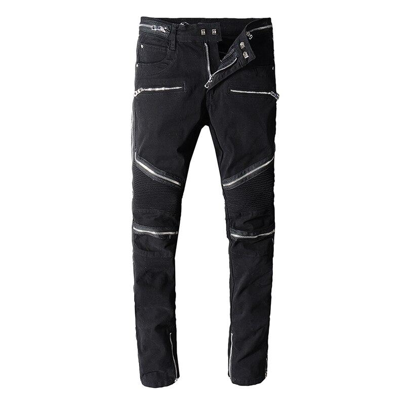 Seveyfan Men's Black Biker Jeans Ankle Zippers Skinny Pleated Motorcycle Jeans Urban Brand Cotton Jeans For Male R2557