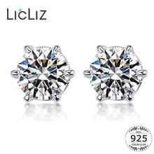 LicLiz 925 Sterling Silver Zircon Diamond Stud Earrings for Women CZ Crystal White Gold Earring Jewelry Boucle Doreille LE0314