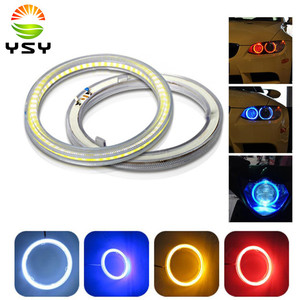 1Pair (2Pcs) White 60mm 70mm 80mm 90mm 100mm 110mm 120mm COB LED Angel Eyes With SHELL Halo Ring Bulb Fog light Lamps For Car(China)