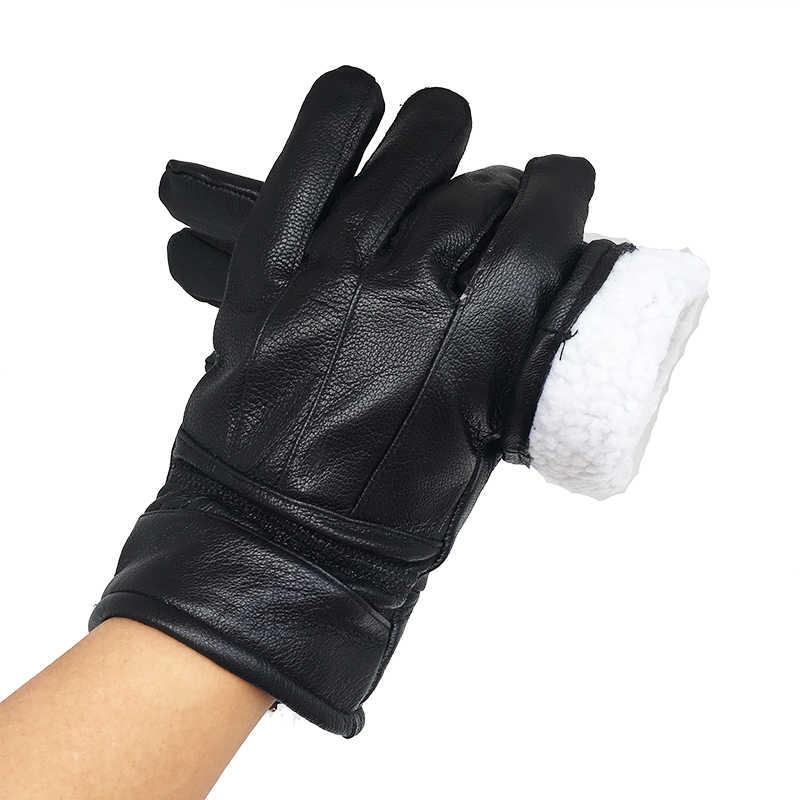 メンズ手袋冬の手袋男性モト手袋本物の革手袋暖かい裏地革革雪の手袋 N6